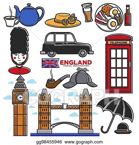 England UK Travel Destination Famous Tourist Attractions Sightseeing Vector Icons