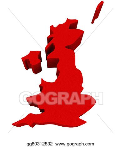 3d Map Of England.Clip Art England Uk United Kingdom Great Britain Red 3d Europe Map