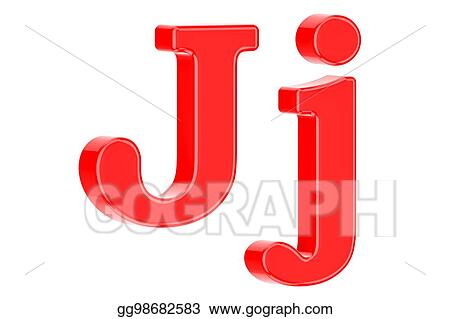 Stock Illustration English Red Letter J With Serifs 3d Rendering