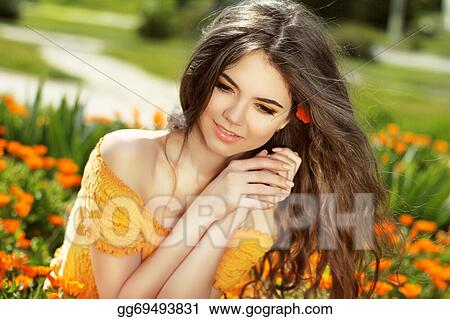 Stock Photography Enjoyment Blowing Long Hair Free Happy Woman Enjoying Nature Beauty Girl Over Marigold Flowers Field Outdoors Freedom Concept Stock Photo Gg69493831 Gograph