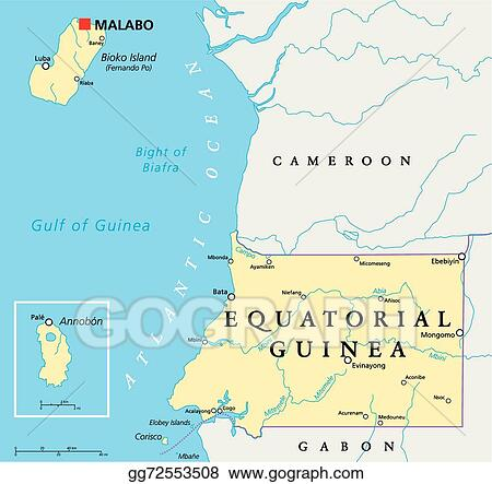 EPS Vector - Equatorial guinea political map. Stock Clipart ...