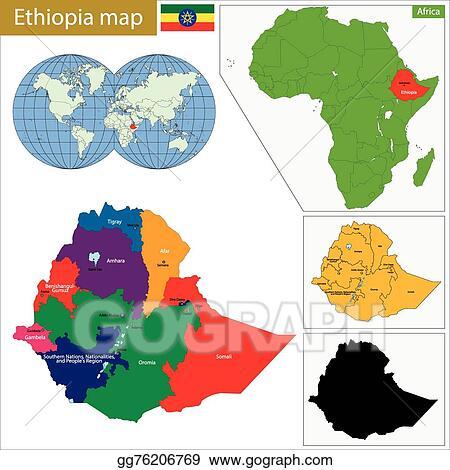 Ethiopia Map Shape Square Tie Clip