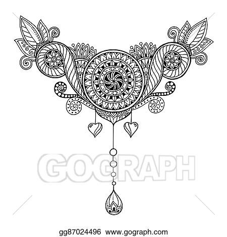Vector Stock - Ethnic floral zentangle, doodle background