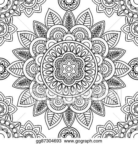 - Vector Art - Ethnic Seamless Pattern, Coloring Pages Template. EPS Clipart  Gg87304693 - GoGraph