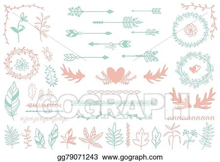 vector stock ethnic tribal boho elements arrows and feathers