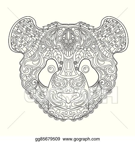 d72cc882f58c4 ... Hand Drawn Panda Head. Black and White Ink Doodle Vector Illustration.  Sketch for Tattoo, Poster, Print or t-shirt. Relaxing Coloring Book for  Adult and ...