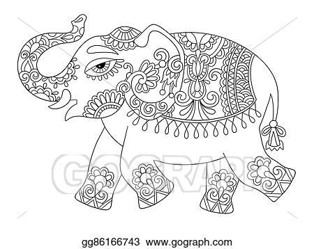 Eps Illustration Ethnischer Inder Elefant Linie Original Zeichnung Erwachsene Farbung Bo Vektorclipart Gg86166743 Gograph