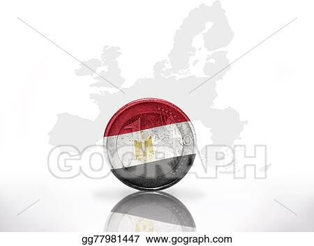 Drawings - Euro coin with egyptian flag on the european