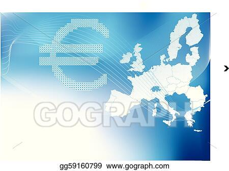 Euro In Halftone Europa,europe Map