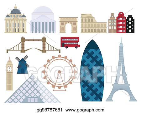 Euro Trip Tourism Travel Design Famous Building And Adventure International Vector Illustration