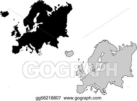 Eps vector europe map black and white mercator projection stock europe map black and white mercator projection gumiabroncs Images