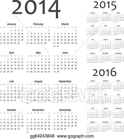 Clip Art Vector European 2014 2015 2016 year vector calendars