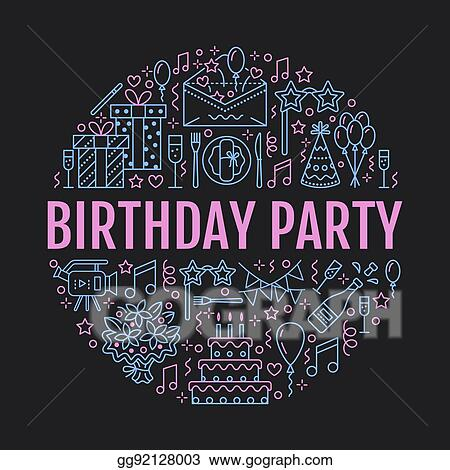 Event Agency Birthday Party Banner With Vector Line Icon Of Catering Cake Balloon Decoration Flower Delivery Invitation Card Entertainment