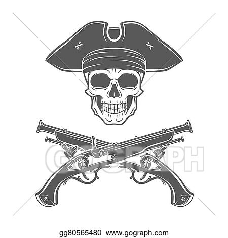 vector illustration evil captain skull in cocked hat vector jolly roger logo template death t shirt design pistol insignia concept eps clipart gg80565480 gograph evil captain skull in cocked hat vector