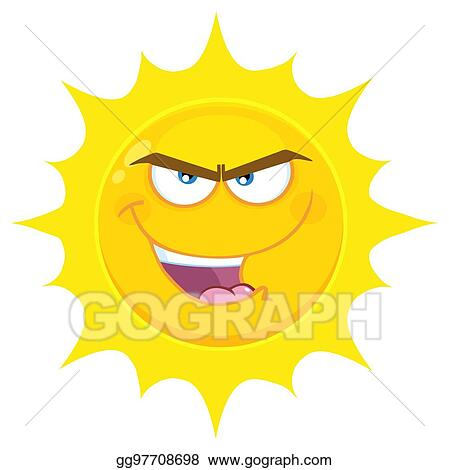 d05fe8bba837 Vector Illustration - Evil yellow sun cartoon emoji face character ...