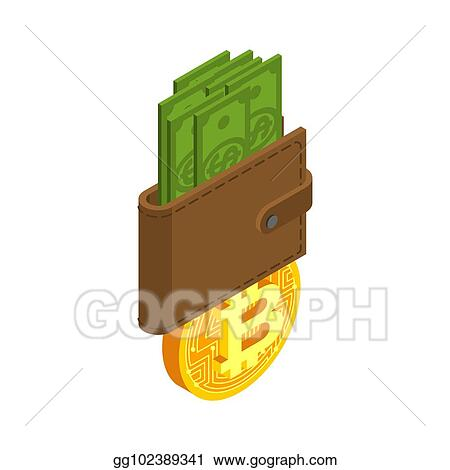 Exchange Bitcoin Crypto Currency Purse Stock Sign Virtual Money Swap Vector Ilrator