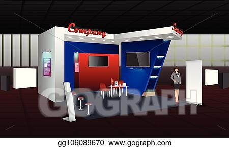 Exhibition Stall Mockup : Vector illustration exhibition stand display design with info