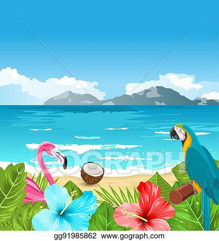 Vector Clipart Exotic Wallpaper With Parrot Ara Pink Flamingo