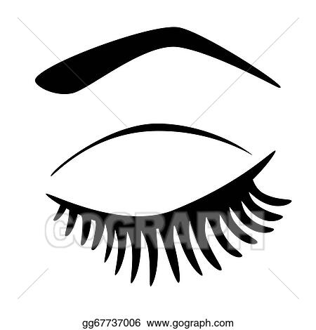 vector art eye closed with long eyelashes clipart drawing