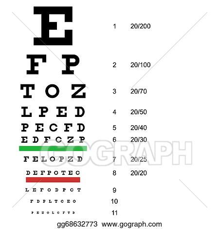 Clip Art Vector Eye Test Chart Use By Doctors Vector Illustration