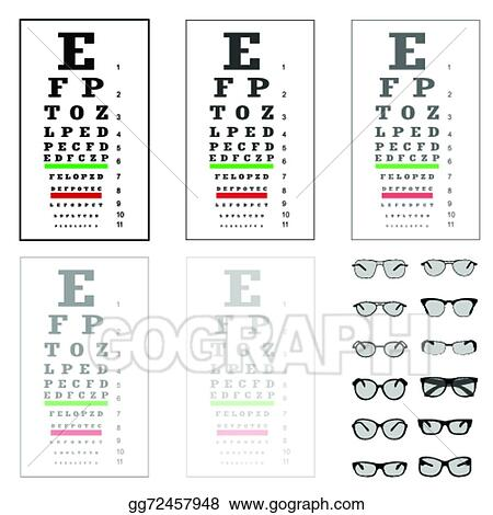 Vector Clipart Eye Test Chart With Glasses Vector Illustration