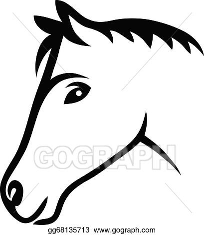 Vector Art Face Horse Clipart Drawing Gg68135713 Gograph