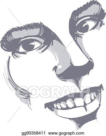 Illustration Visage vector illustration - facial expression, hand-drawn illustration of