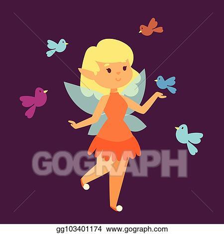 Vector Art Fairy Princess Girl Vector Character Cute