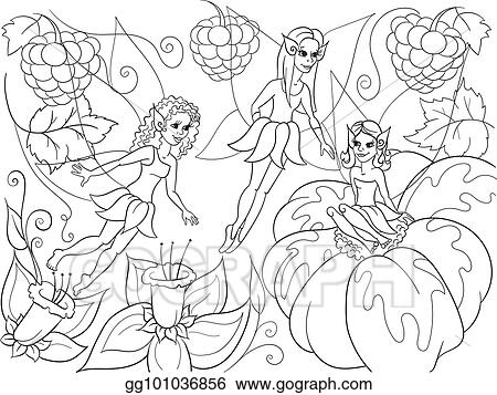 Vector Art - Fairy-tale world of fairies coloring book for ...