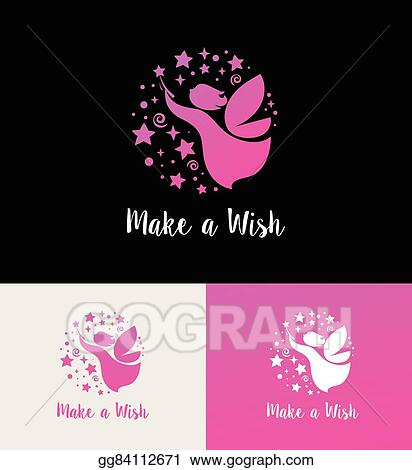 Clip Art Vector Fairy With Magic Wand Make A Wish Icon And