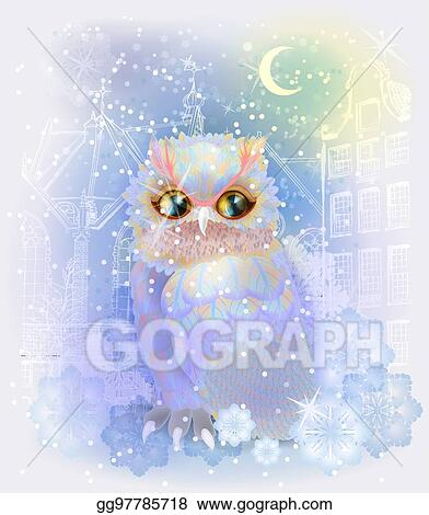 fairytale owl in the snowy city christmas and new year illustration winter in the city watercolor style