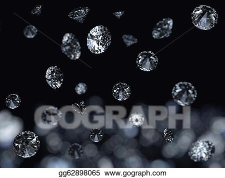 Drawing - Falling 3d diamonds on black background  Clipart
