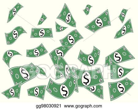 Money falling. Vector illustration cash paper