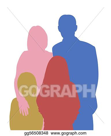 4 Person Family Front Body. Royalty Free Cliparts, Vectors, And Stock  Illustration. Image 115794388.
