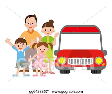 Drawing - Family and car. Clipart Drawing gg64288571 - GoGraphFamily Car Clipart