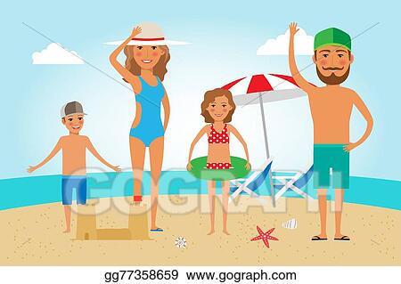 vector art family beach vacation clipart drawing gg77358659 gograph