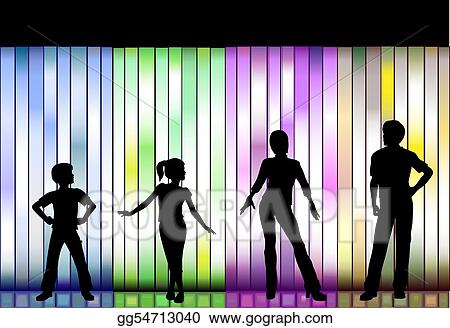 Vector Clipart Family Fashion Show On Colorful Background Vector