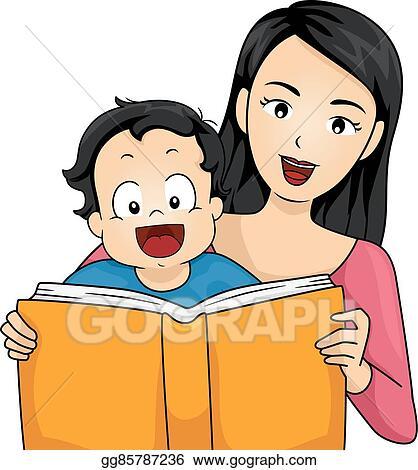 vector clipart family mother read story book baby boy vector rh gograph com OWL Reading Clip Art I Love Reading Clip Art