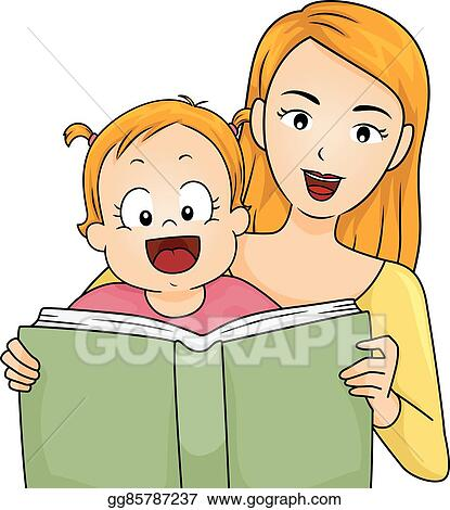 clip art vector family mother read story book baby girl stock eps