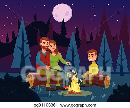 Family Picnic By Fire At Night Father Character Tells Stories Mother And Son Vector Flat Cartoon Illustration