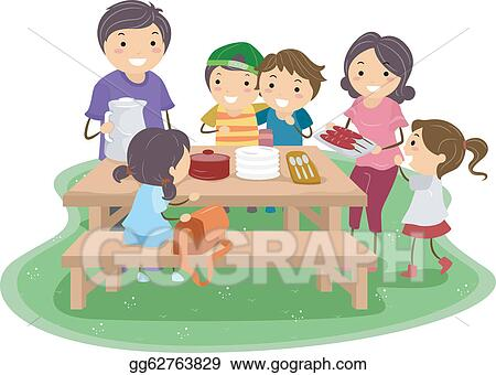 vector art family picnic clipart drawing gg62763829 gograph rh gograph com black family picnic clipart family picnic clipart black and white