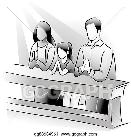 Vector Art Family Pray Church Eps Clipart Gg88534951 Gograph
