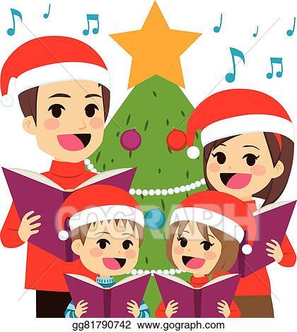 Christmas Carols Clipart.Eps Illustration Family Singing Christmas Carols Vector