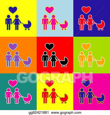 Vector Illustration Family Symbol With Pram And Heart Husband And