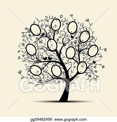 Clip Art Vector Family Tree Design Insert Your Photos Into Frames