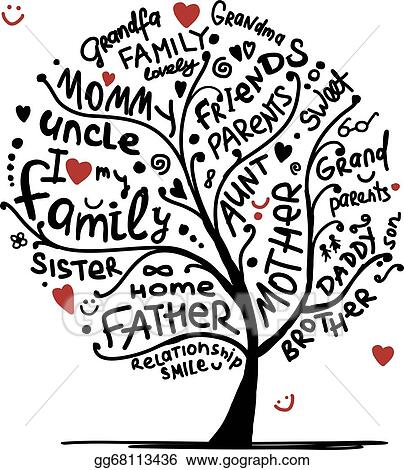 EPS Vector - Family tree sketch for your design. Stock Clipart Illustration  gg68113436 - GoGraph