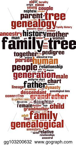 vector clipart family tree word cloud vector illustration