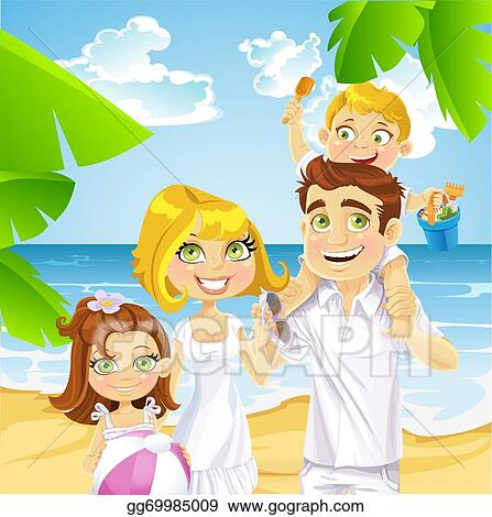 Vector Clipart Family With Children On The Beach Vector