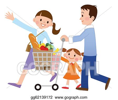 stock illustration family with shopping clipart drawing rh gograph com shopping clip art sillouettes shipping clip art