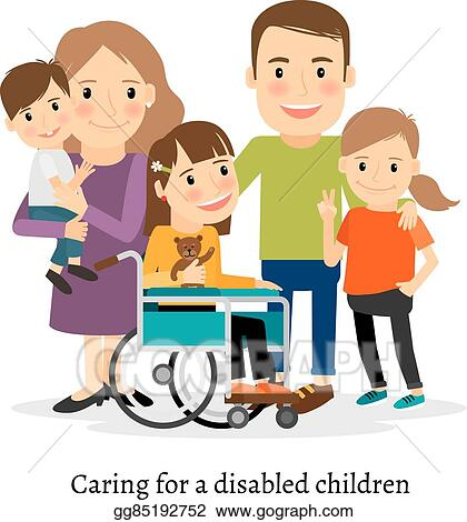 vector stock family with special needs children clipart rh gograph com clipart special needs special needs clipart pictures